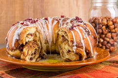 Hazelnut cranberry coffee cake dessert Royalty Free Stock Photography