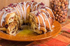 Hazelnut cranberry coffee cake dessert Stock Photo
