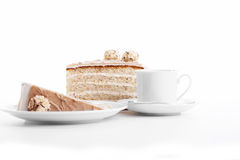 Hazelnut cream cake with coffee Royalty Free Stock Photography