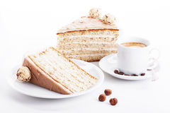 Hazelnut cream cake with coffee Stock Photo