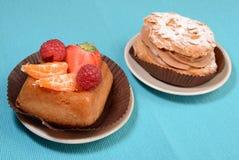Hazelnut and fruit tarts Royalty Free Stock Photography
