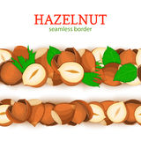 Hazelnut Horizontal seamless border. Vector illustration card. Stock Images