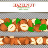 Hazelnut Horizontal seamless border. Vector illustration card. Royalty Free Stock Photo