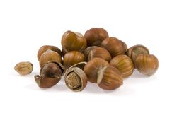 Hazelnut lies a bulk Stock Photo