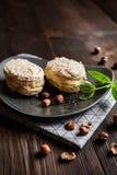 Hazelnut Meringues filled with hazelnut cream stock image