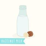 Hazelnut milk in a glass bottle. Vector EPS 10 hand drawn illustration vector illustration