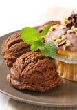 Hazelnut muffin and chocolate ice cream stock image