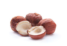 Split hazelnut on white Stock Image