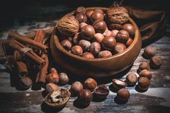 Hazelnut nuts, walnut, cinnamon sticks in a wooden bowl on a dark background. Low key lighting stock photo