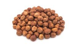 Hazelnut nuts on white background. peeled filbert stock image