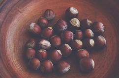 Hazelnut over brown clay plate Royalty Free Stock Photo