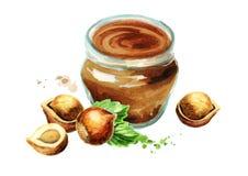 Hazelnut paste. Watercolor  illustration Royalty Free Stock Photography