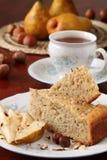 Hazelnut and pear cake Royalty Free Stock Images