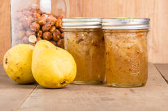 Hazelnut and pear conserve in jars Stock Photo