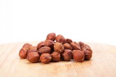 Hazelnut Pile. On white background stock images