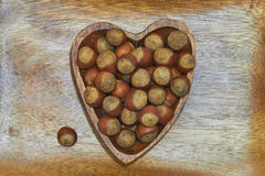Hazelnut serce Fotografia Stock