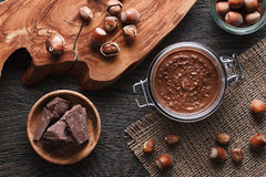 Hazelnut spread with nuts pieces Stock Photos