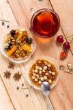 Hazelnut tart with caramel. On wooden table Stock Images
