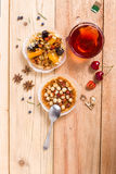 Hazelnut tart with caramel. On wooden table Royalty Free Stock Photography
