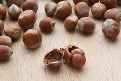 Hazelnut on wooden background Stock Image
