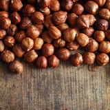 Hazelnut on wooden background Stock Photography