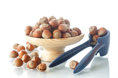 Hazelnut in the wooden plate Stock Photos