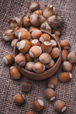 Hazelnut on a wooden table Stock Photo