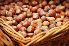 Hazelnuts. Basket of hazelnuts in a food market Royalty Free Stock Images