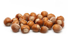 Hazelnuts. On a white background Royalty Free Stock Photos