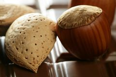 Hazelnuts, almonds and chocolate Stock Photo