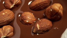 Hazelnuts and almonds fall into the melted chocolate stock video footage