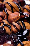 Hazelnuts, almonds and raisins with chocolate topp Stock Photos
