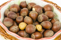 Hazelnuts in a basket Stock Photo