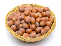 Hazelnuts in a basket Royalty Free Stock Photo