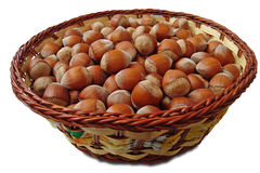 Hazelnuts in basket Stock Photos