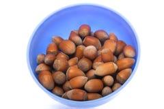 Hazelnuts in  bowl Stock Photo