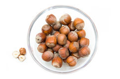 Hazelnuts on bowl from above Stock Image