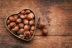 Hazelnuts in bowl Royalty Free Stock Image
