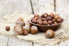 Hazelnuts in a bowl Stock Photos