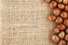 Hazelnuts and  Burlap Stock Photos