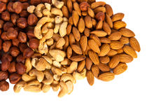 Hazelnuts, cashew, almonds Stock Photos