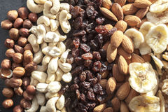 Hazelnuts , cashew nuts, raisins, almonds and dry bananas Stock Photography