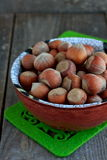 Hazelnuts in the ceramic bowl Royalty Free Stock Photo