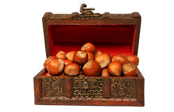 Hazelnuts in chest Royalty Free Stock Photos