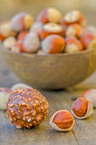 Hazelnuts and chocolate Stock Photo