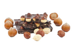 Hazelnuts with chocolate isolated Stock Photos