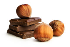 Hazelnuts and chocolate Stock Photos