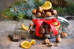 Hazelnuts and christmas spices. Stock Image