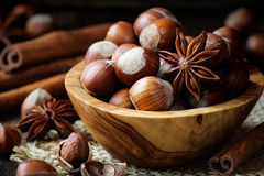 Hazelnuts, Cinnamon And Anise Royalty Free Stock Images