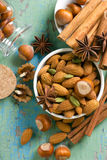 Hazelnuts, cinnamon, anise, almonds, cardamom. Royalty Free Stock Images